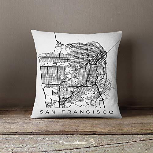 Lplpol Kissen San Francisco Geschenke, dekorative Kissenbezüge für Couch für Zuhause, Couch, Sofa, Bettwäsche, 55,9 x 55,9 cm