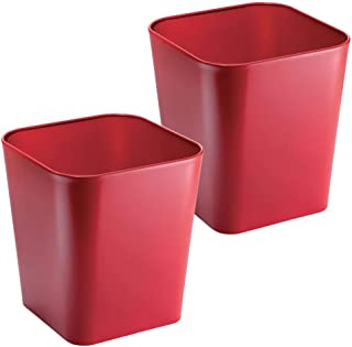 mDesign Decorative Metal Square Small Trash Can Wastebasket, Garbage Container Bin - for Bathrooms, Powder Rooms, Kitchens, Home Offices - 2 Pack - Red