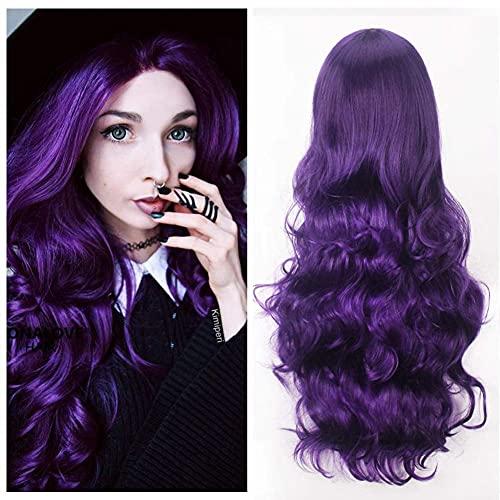 32 'Peluca de pelo largo prpura rizado con flecos flequillo Anime Cosplay disfraz de Halloween pelucas sintticas para mujeres nias