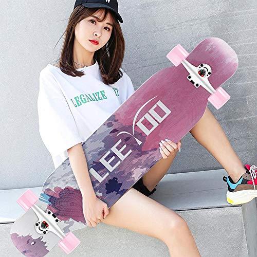 HUADUO Longboard, Maple Skateboard Jungen und Mädchen Brush Street Dance Board Anfänger Erwachsene Jugend Allrad-Skateboard-Farbe-B