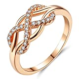 Beiver Cubic Zirconia Crystal Infinite Rings for Women Fashion Design Statement Rose Gold Color Ring Wedding Jewelry,8