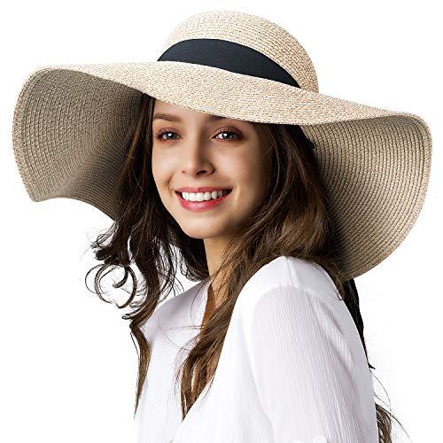 FURTALK Moderner Sommerhut für Frauen Sonnenblender Hut mit Breiter Krempe UPF50+ Sommerreise Strandkappe