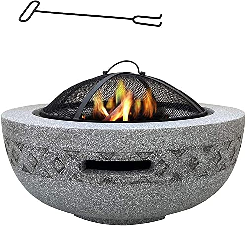 Outdoor Fire Pit for Garden Large Camping Poker Brazier (3 in 1Fire Pit Round Table Grill) Garden Patio Heater/BBQ/Ice Pit