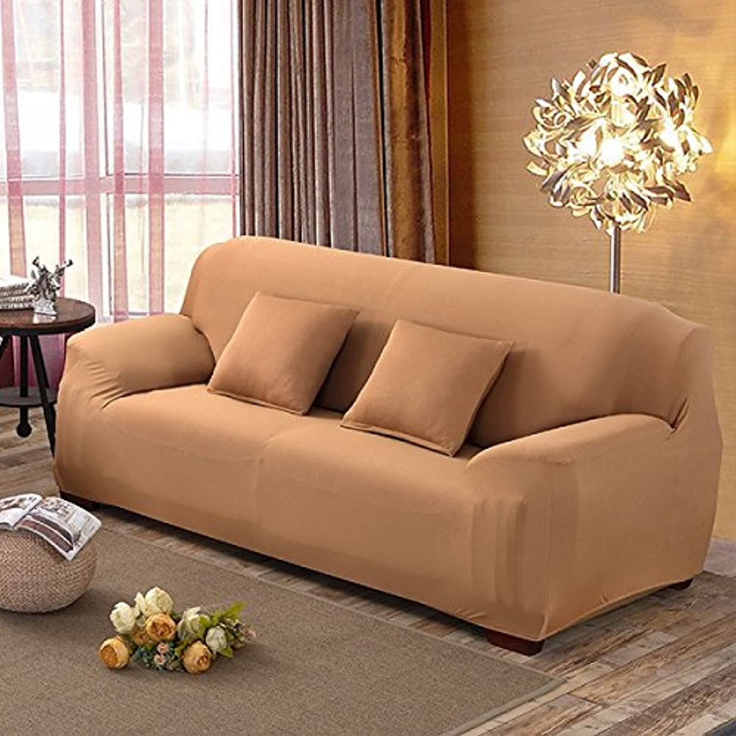 Farmerly Stretch Sofa Cover Big Elasticity 100% Polyester Spandex Couch Cover 1 2 3 Seater Elastic Sofa Cover Solid funda Sofa Covers   Camel, Single seat 90-140cm