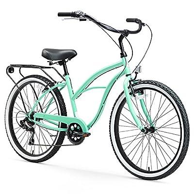 "sixthreezero Around The Block Women's 7-Speed Beach Cruiser Bicycle, 26"" Wheels, Mint Green with Black Seat and Grips"