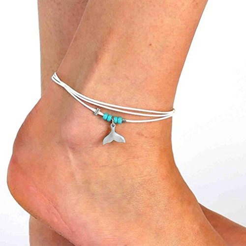 Yinew Boho Starfish Anklet Vintage Beads Multilayer Chain Ankle Bracelet for Women Foot Jewelry Summer Barefoot Beach Anklet (Mermaid tail)