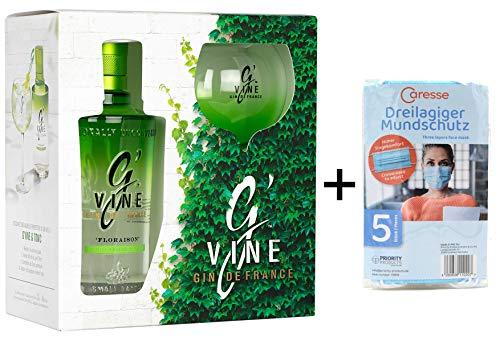 G'Vine Floraison Gin 0,7l inkl. Copa Glas im Geschenkset + 5 Mundschutzmasken