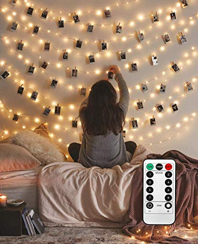 8 Modes 40 LED Photo Clip String Lights with Remote, Indoor Fairy String Lights for Hanging Photos Pictures Cards, Ideal Gift for Bedroom Decoration (Battery Operated 40 LED)