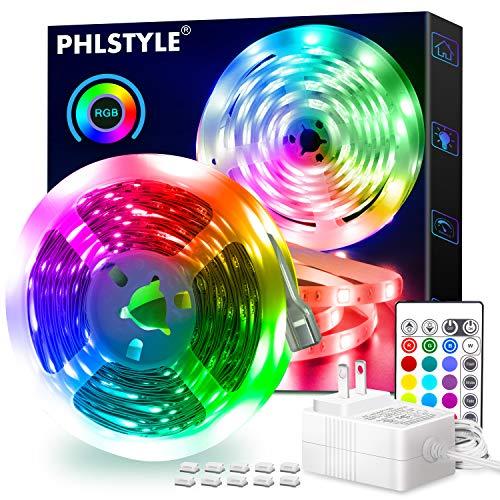 LED Strip Lights 16.4FT/5m, Flexible Color Changing LED Light Strips, with 24 Keys IR Remote Controller 5050 LED Strips, Led Lights for Bedroom, TV, Kitchen, Christmas Decoration