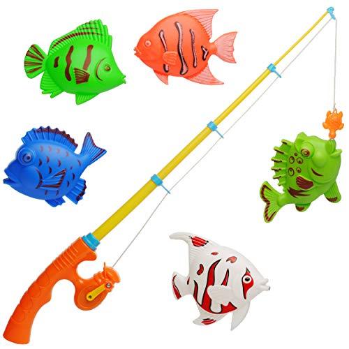 alles-meine.de GmbH 6 TLG. Set _ großes Magnet - Angelspiel - WASSERFEST - _ mit 5 großen Fischen _ - drehbare + magnetische Angel - für Kinder - Fische Angeln - Badewanne Spiel ..