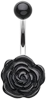 Freedom Fashion Simple Rose Bloom 316L Surgical Steel Belly Button Ring (Sold Individually)