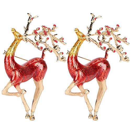 SALUTUYA 2Pcs Womens Vintage Retro Golden Tone Deer, Elk Shiny Zircon Brooch for Women Crystal Pin Vintage