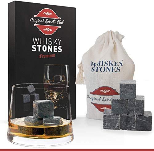 Original Spirits Club Whisky Steine Set - 9 Marmor Whisky Steine und Natur Leinen Tasche zum Einfrieren - Whiskey Wiederverwendbar Eiswürfel - Getränke Kuhlsteine - Whiskey Geschenke für Männer