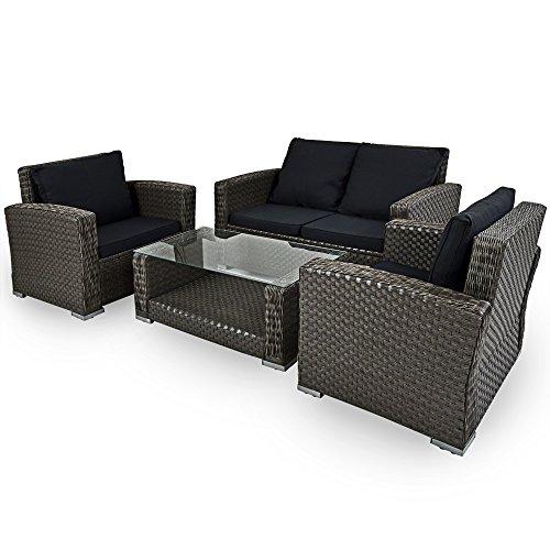 Deuba | Salon de Jardin en polyrotin et Aluminium • résistant aux intempéries et UV | Gris, Sofa, Lounge, fauteuils, canapé, mobilier de Jardin