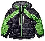 LONDON FOG Boys' Big Active Puffer Jacket Winter Coat, Super Black, 8
