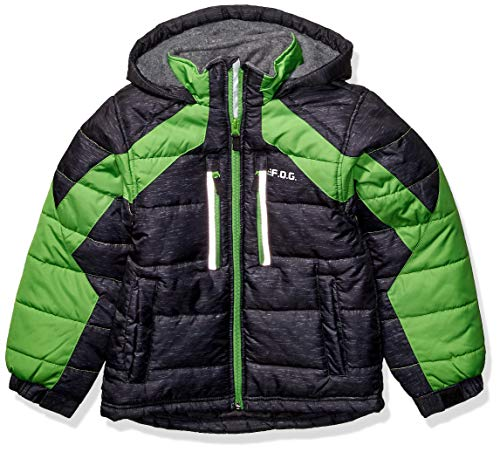 LONDON FOG Boys' Big Active Puffer Jacket Winter Coat, Super Black, 8