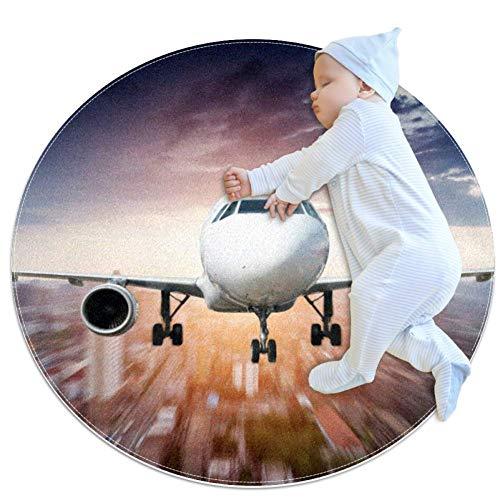 Urban Sky Plane Tapis de jeu rond pour tapis de jeu pour bébé Tapis de salle de bain antidérapant doux pour les tout-petits 80cm