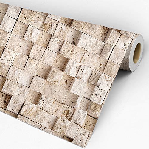 Papel de Parede Adesivo Lavável Estilo Pedra Tijolinho 3D