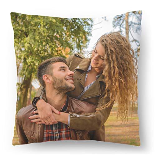 Ferocity Fotokissen 45 x 45 cm, aus Microfaser mit Füllung aus Silikonkügelchen, Fullprint-Druck mit personalisiertem Bild oder Foto, Kissenbezug mit Reißverschluss, waschbar in Einer Waschmaschine.