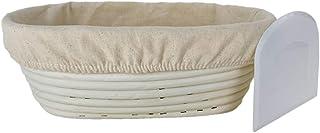 26cm Oval Rattan Bread Proofing Basket + free plastic dough scraper (Aussie Owned) - Bannetons Handmade Rattan Sourdough B...