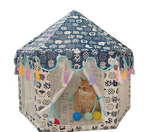 Zeshoekige huisdier Tipi conische tent Mongoolse huis hondenmand Kennel Kitten Cat Nest Mesh Tent verwijderbaar