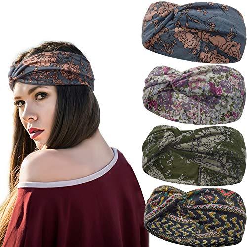 Stynice Stirnband Damen Elastische Boho Blume Gedruckt Haarband Cross Verdrehte Haarschmuck Frauen Kopfband (Casual, One size)