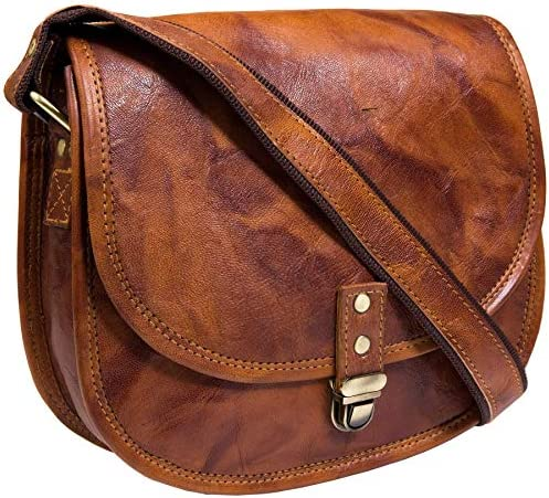 Leather Saddle Bag Purse for Women and Girls Leather Satchel Crossbody Purse and Handbag Cosmetic product image