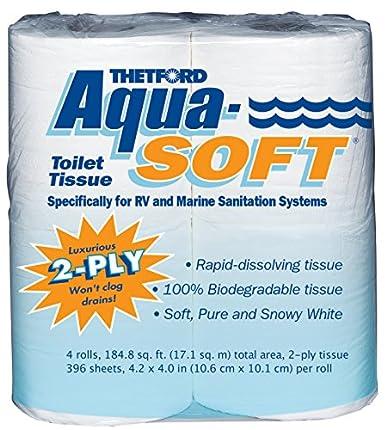 Thetford 03300Aqua-Soft Toilet Tissue, 2-Ply, 4Rollos