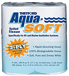 Aqua-Soft Toilet Tissue - Toilet Paper for RV and marine - 2-ply - Thetford 03300 (Pack of 4 rolls)