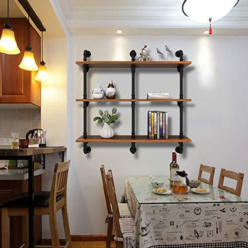 Estantería de pared rectangular retro estante de fijación de metal negro y madera percha decorativa baño lavandería dormitorio cocina