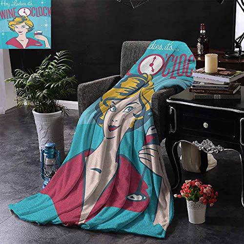 ZSUO bank deken dames zijn wijn OClock mooie vrouw drinken Portret Cheers Retro ontwerp omkeerbare zachte stof voor bank bank bank gemakkelijk zorg