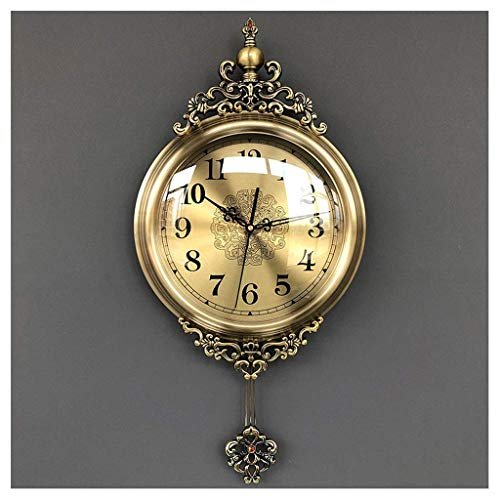 AIOJY Estilo Europeo Sala De Estar Reloj De Pared Reloj De Columpio Retro Sweep Sweep Segundo Reloj Reloj De Pared Reloj De Pared