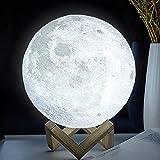 ACED lámpara luna para niños luz nocturna portátil 16 colores lámpara de arte de decoración que cambia de color, luces de ambiente regulables con control táctil para decoración y regalo Navidad, 15 cm