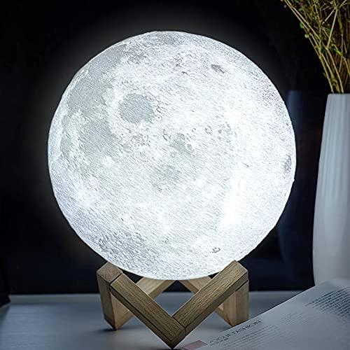 ACED Lámpara luna impresión 3D LED con control remoto 16 colores decoración lampe Luz de noche portátil para niños con USB recargable, para el cumpleaños la novia y el regalo aniversario Navidad 18cm