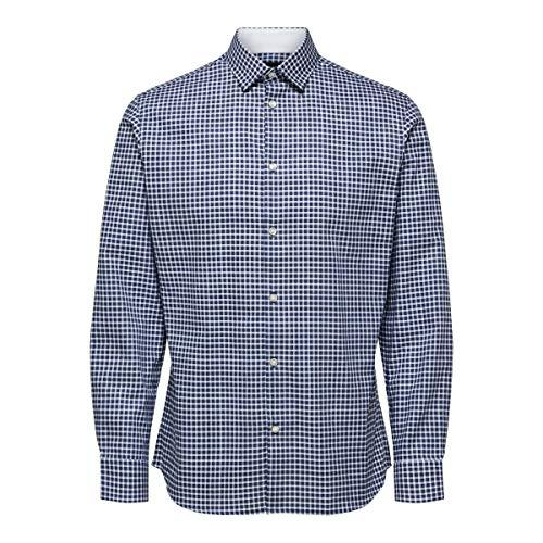 SELECTED HOMME SLHSLIMNEW-Mark Shirt LS B Noos Camicia Elegante, Dunk E L Blau, Medium Uomo