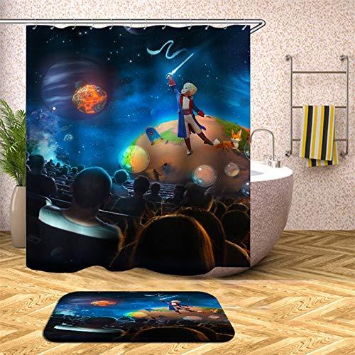 XCBN Cortina de Ducha de Tierra en el Universo para baño, Tela Impermeable, Pantalla de decoración de bañera, Anti mirones A20, 180x180cm
