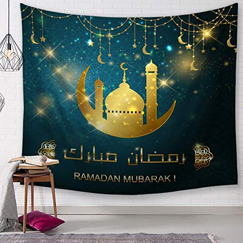 KHKJ Tapiz islámico Ramadán Colgante de Pared Luna Mandala Alfombra psicodélica Manta de Pared sofá Cubierta Mantel decoración del hogar A10 150x130cm