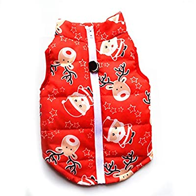 N / A Pet Winter Clothes,Small Dog Warm Coat Jackets Pet Christmas Clothing Costume for Cats Puppy Small Dogs (M, Red Santa)