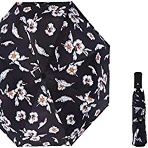 Mini Paraguas Plegables, Apertura/Cierre Automático para Mujeres, A Prueba De Rayos UV, Paraguas De Sol/Lluvia, Viajes A Prueba De Viento con Flores Impresas En El Dosel(Color:D)