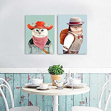 DecalMile Wall Art Oil Painting Hand Painted on Canvas Cartoon Cat and Owl Modern Home Decor for Living Room Bedroom Kids Room (12x16 Inch, 2 Pieces)