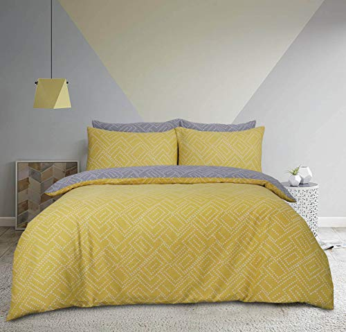 Sleepdown Square Dot Geo Ochre Reversible Soft Duvet Cover Quilt And Bedding Set With Pillowcases - Double (200cm x 200cm)
