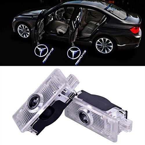 XYSTAR 2 Stück Autotür Logo Einstiegsbeleuchtung Projektion Licht Türbeleuchtung Projektor Welcome Licht (Für Benz CLA-AMG)