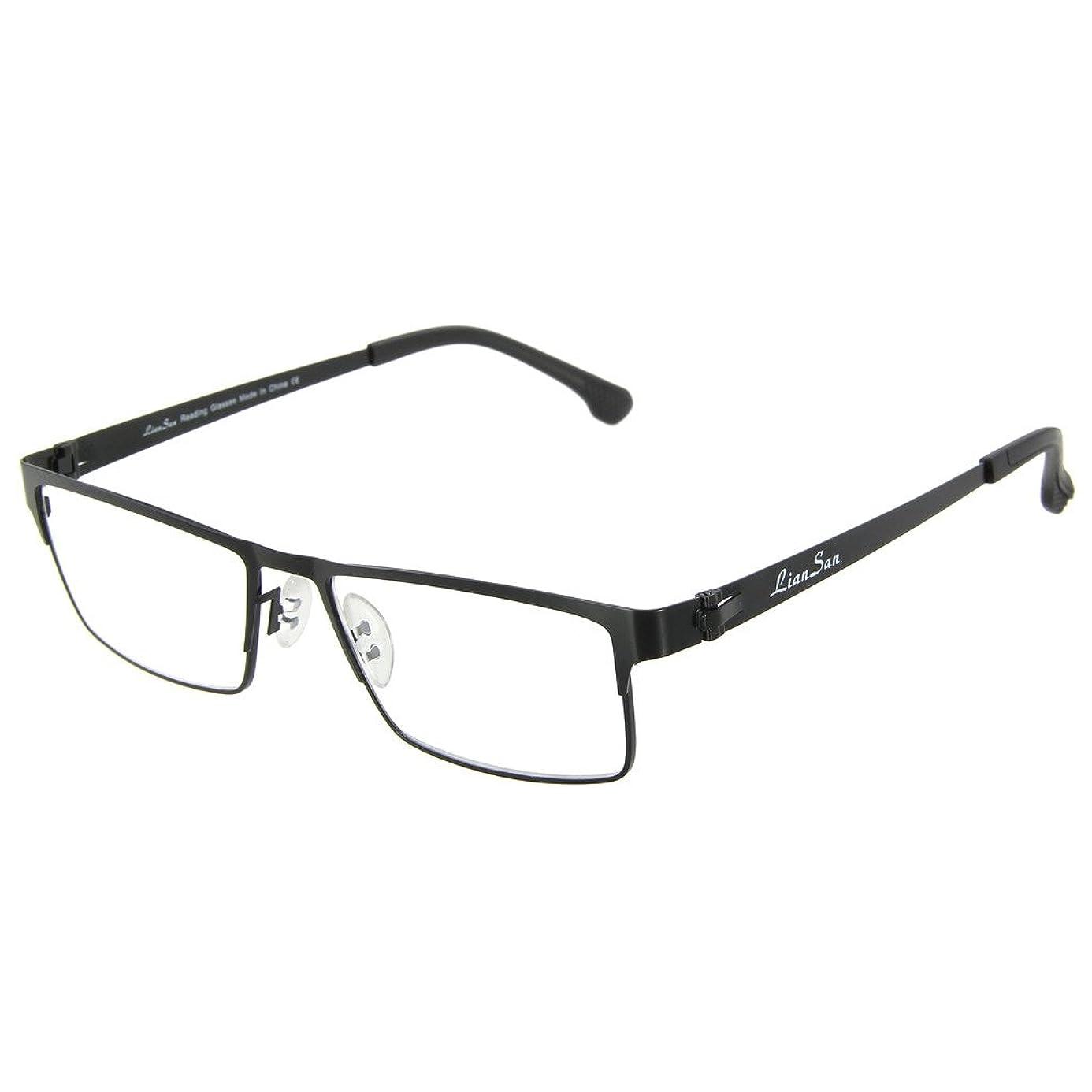 LianSan Computer Video Gaming Reading Glasses in Stainless Steel Metal Frame Anti Harmful Glare, UV and Blue Light Lens L5610(Black,+2.75) ovw9693071