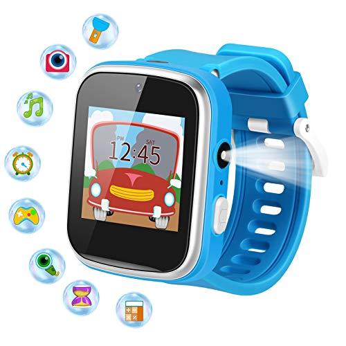 Kinder Smartwatch, Uhr Dual Kameras Smart Watch Wecker Kinder 9 Spiel Musik Kinder Smartwatch Taschenlampe Kinder Watch 1.54'' HD IPS Berührungssensitiver Bildschirm Smartwatch Für Mädchen Junge(Blau)