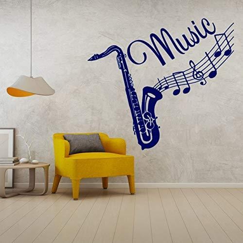 Saxofoon Muursticker met stijlvolle minimalistische muziekinstrumenten en muziekinstrumenten 57x53cm Blauw
