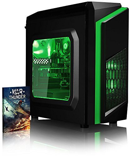 VIBOX Theta 41 PC gaming computer met War Thunder Voucher spel (4,2GHz AMD FX 8-core processor, Nvidia GeForce GTX 1050 grafische kaart, 16 GB DDR3 1600MHz RAM, 1 TB HDD, zonder operationele systeem)
