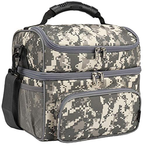 FlowFly Double Layer Cooler Insulated Lunch Bag Adult Lunch Box Large Tote Bag for Men, Women, With Adjustable Strap,Front Pocket and Dual Large Mesh Side Pockets,Digital Camo
