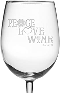 Fineware Peace, Love & Wine 19 oz Wine Glass Etched with Peace Symbol, Heart, Wine Glass Design