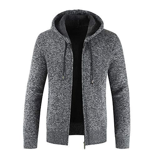 Xmiral Herren Stricken Jacke Mantel Lässige Zipper Kordelzug Hoodie Outwear Pullover (XXL,Schwarz)