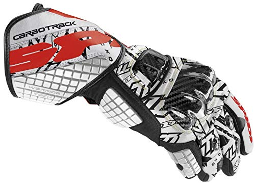 Motorbike Motorcycle Spidi IT Carbo Track Replica Leather Gloves- Offroad Racing GP Sports Glove-Blk/R/W-Special Order - White - XL